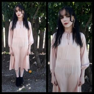 Vintage 70's nude pink polyester dress!